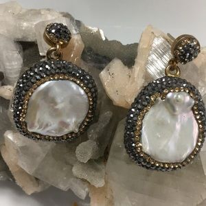 Mother of Pearl and Druzi Earrings